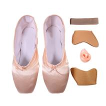 DoGeek Girls Pointe Shoes Ballet Dance Toe Shoes for Professional Ladies Satin Pointe Shoes with Ribbon(Choose one Size Larger)