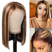 LBE 13x6 Bob Straight Lace Front Wigs Human Hair Pre Plucked with Baby Hair 150% Density Human Hair Wigs for Woman 4/27 Ombre Wig with Nature Hairline (12 inch, 4/27)