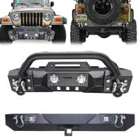 Vijay Textured Black Front Bumper and Rear Bumper with Winch Plate and 6 LED Light for 1987-2006 Wangler Freedom Sports Rubicon Shahara TJ/YJ