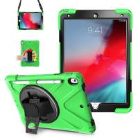 "iPad Air 3 Case 2019, LITCHI iPad Pro 10.5 Case with Pencil Holder, Rugged Case with 360 Rotatable Kickstand,Hand Strap/Shoulder Strap for iPad Pro 10.5"" 2017 / iPad Air 3rd Generation 2019-Green"