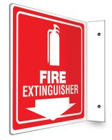 "Accuform PSP729 Projection Sign 90D, Legend""FIRE Extinguisher (Arrow)"", 8"" x 8"" Panel, 0.10"" Thick High-Impact Plastic, Pre-Drilled Mounting Holes, White on Red"