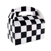 "12 Pack Black and White Checker Racing Flag Pennant Treat Gift Paper Cardboard Boxes with Handles for Crafts Candy Goodie Bags, Picnic Snacks, Birthday Party Favors (6.25"" x 3 1/2"" x 3.25"")"