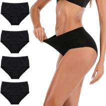 FLORATA Women's High Waisted Cotton Underwear Briefs Ladies Soft Breathable Full Coverage Panties