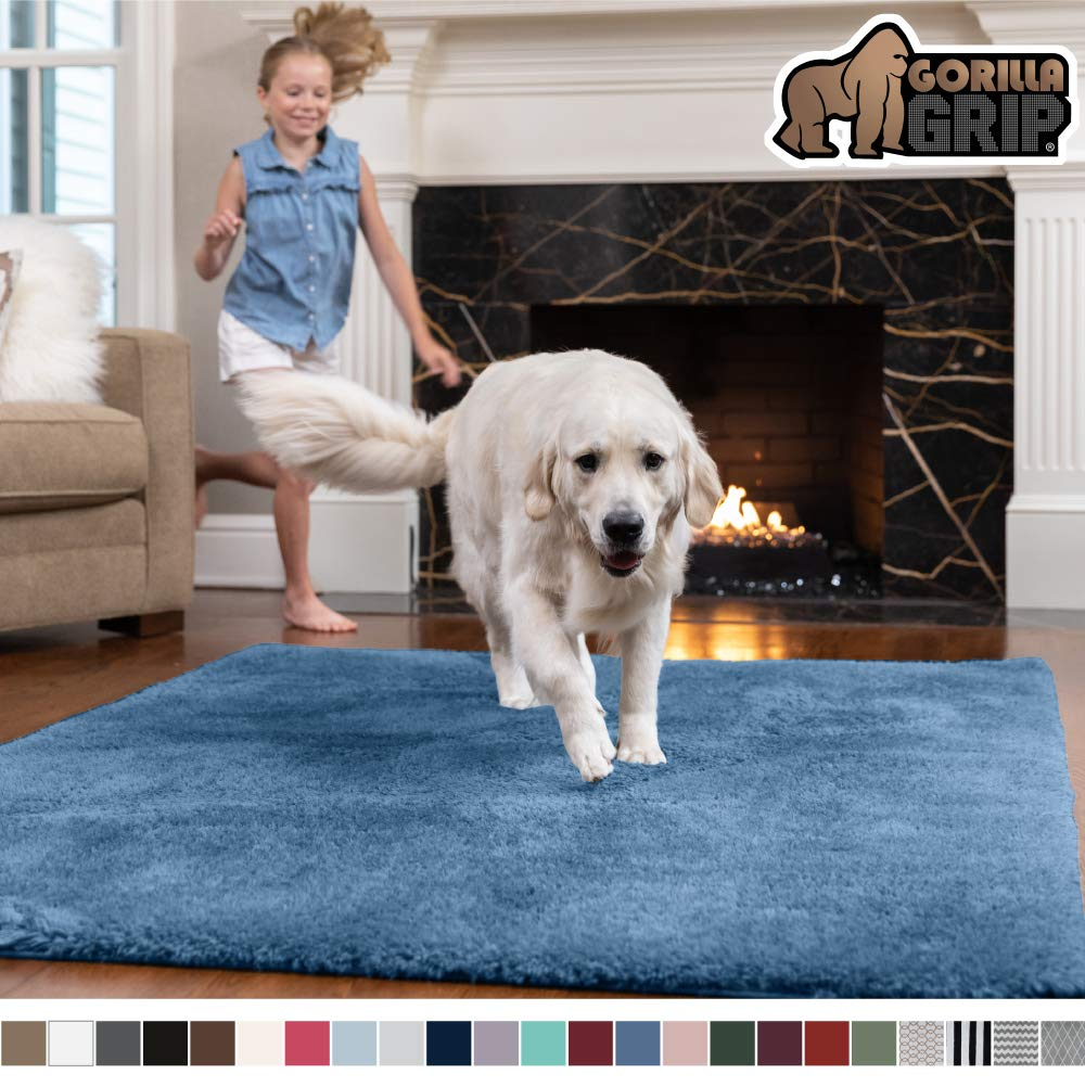 GORILLA GRIP Original Faux-Chinchilla Area Rug, 2x4 Feet, Super Soft and Cozy High Pile Washable Carpet, Modern Rugs for Floor, Luxury Shag Carpets for Home, Nursery, Bed and Living Room, Blue