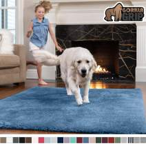 GORILLA GRIP Original Faux-Chinchilla Area Rug, 2x8 Feet, Super Soft and Cozy High Pile Washable Carpet, Modern Rugs for Floor, Luxury Shag Carpets for Home, Nursery, Bed and Living Room, Blue