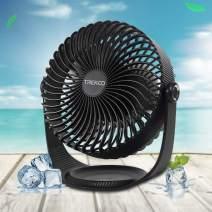 8 Inch Desk Fan 3 Speeds Trekoo USB Table Fan Rechargeable Battery Power Operated Air Circulator for Personal Cooling Bedroom Camping