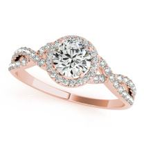 0.50 Carat Halo Very Good Cut Diamond Engagement Women's Ring 4 Prong 14K Solid White Rose Yellow Gold. 1/2 ctw Wedding Jewelry Collection