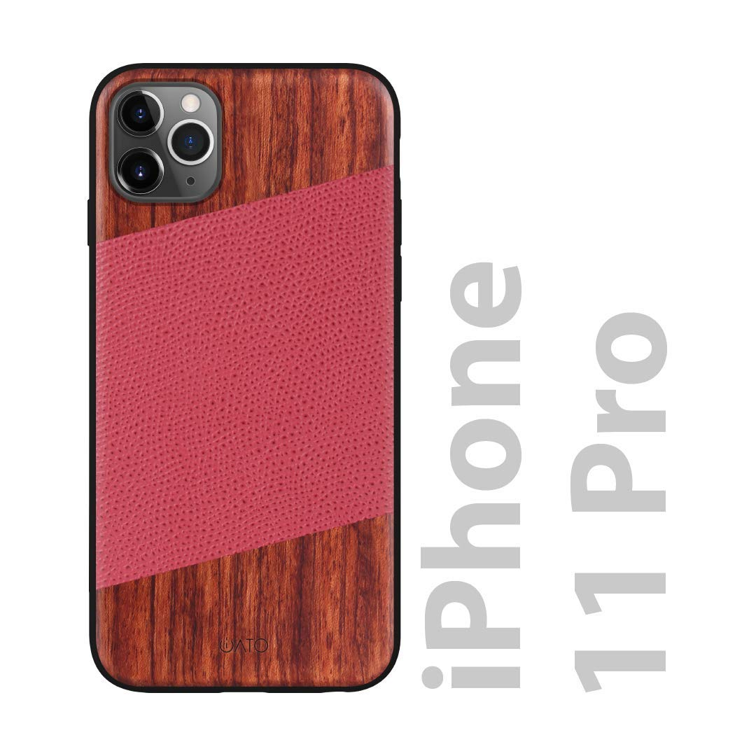 iATO iPhone 11 Pro Case Wood & Leather. Unique & Classy Red Lizard Pattern Genuine Leather & Real Natural Rose Wood iPhone 11 Pro Case {Shockproof & Raised Lips} iPhone 11 Pro Wood & Leather Case