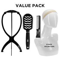 """Milano Collection Value Pack: 14"""" Halo Plastic Wig Stand Hanger with 9 Pack Nude Nylon Wig Caps and Black Brush & Comb Set"""