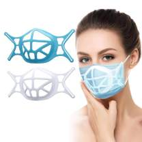 3D Face Bracket, Silicone Breathe Cup for Comfortable Wearing, Mas-k Insert Reusable Washable for Breathing Smoothly, Ma-sk Bracket Internal Support Frame(White+Blue)