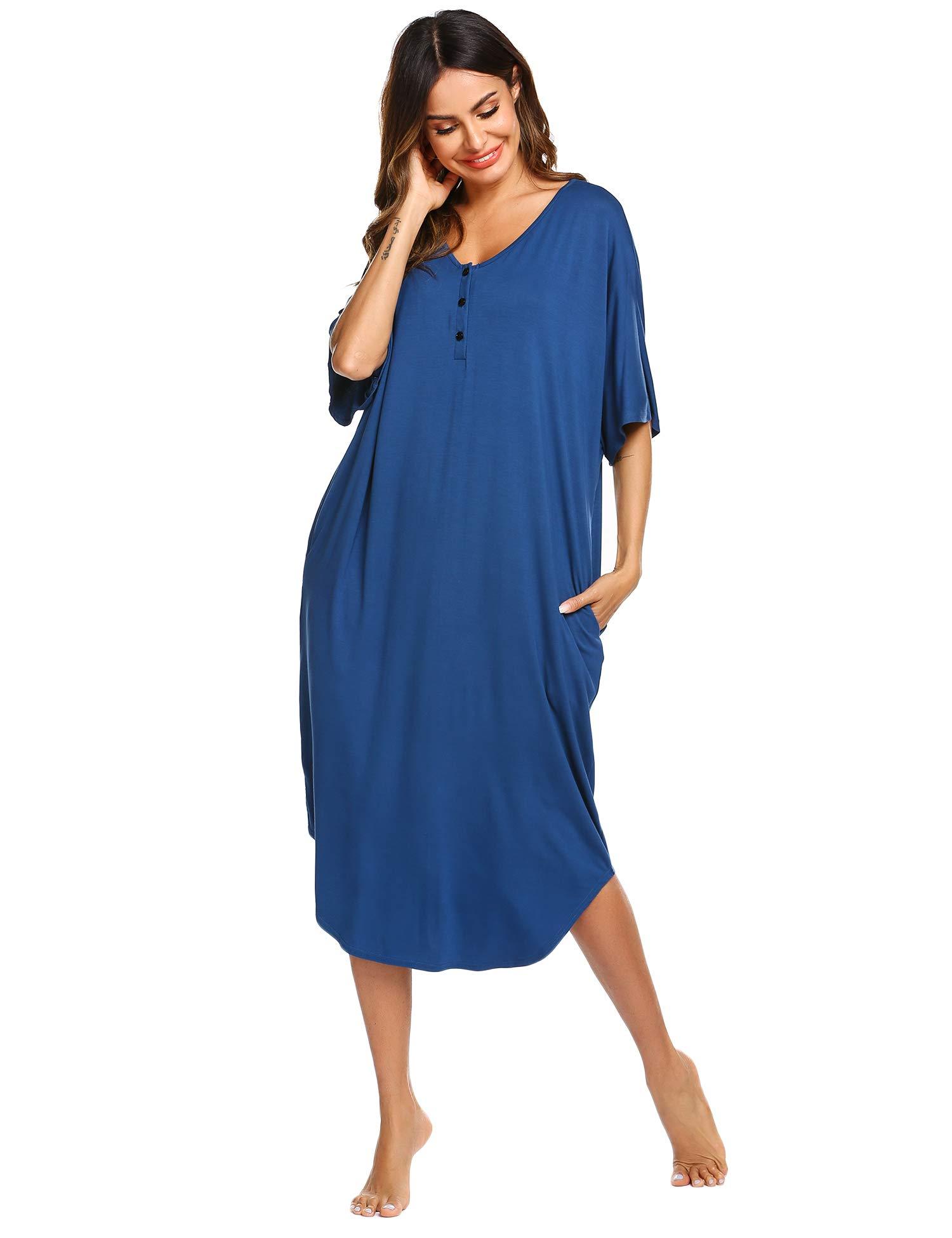 Ekouaer Nightgowns Womens V Neck Loungewear Short Sleeve Sleepwear Plus Size Night Wear S-XXL