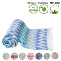 Mebien Turkish Beach Bath Towel Peshtemal-Luxury Prewashed Cotton Blanket Blue 33x66inches