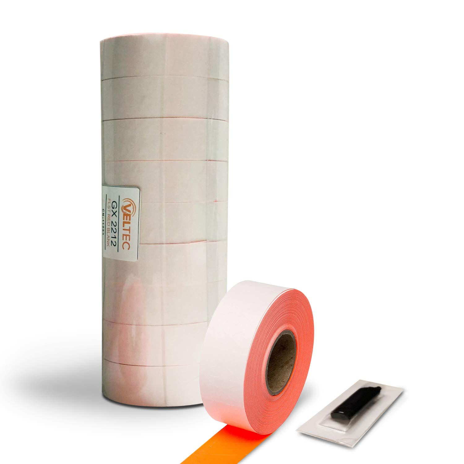 Veltec 2212 Fluorescent Red Pricing Labels for Garvey and Contact 22-6, 22-7, 22-8 Price Gun/Labelers, Free Ink Roller – 9 Rolls, 11,000 Labels with Security Slits