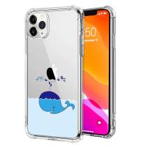 Clear Case for iPhone 11 Pro Max, Soft Silicone Cartoon Cute Blue Whale Creative Pattern Design Hard PC Back Slim Transparent Shockproof Protective Cover Compatible with iPhone 11 Pro Max 6.5 Inch