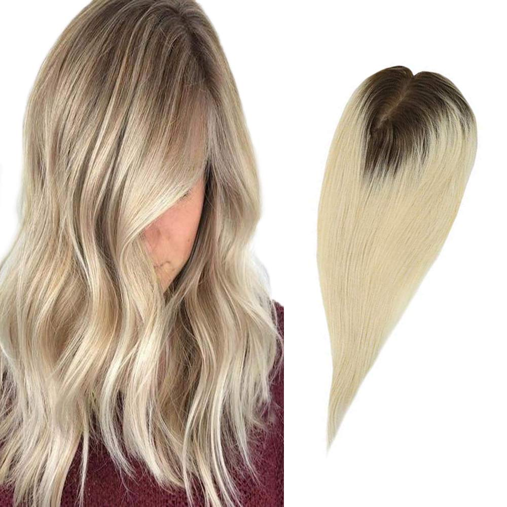 Full Shine Crown Topper Crown Clip in Top Hairpiece Toupee For Thinning Hair 12x6CM 35g 18 Inch Ombre Color 10 Fading to 613 Blonde Real Remy Human Hair Straight Hair for Women