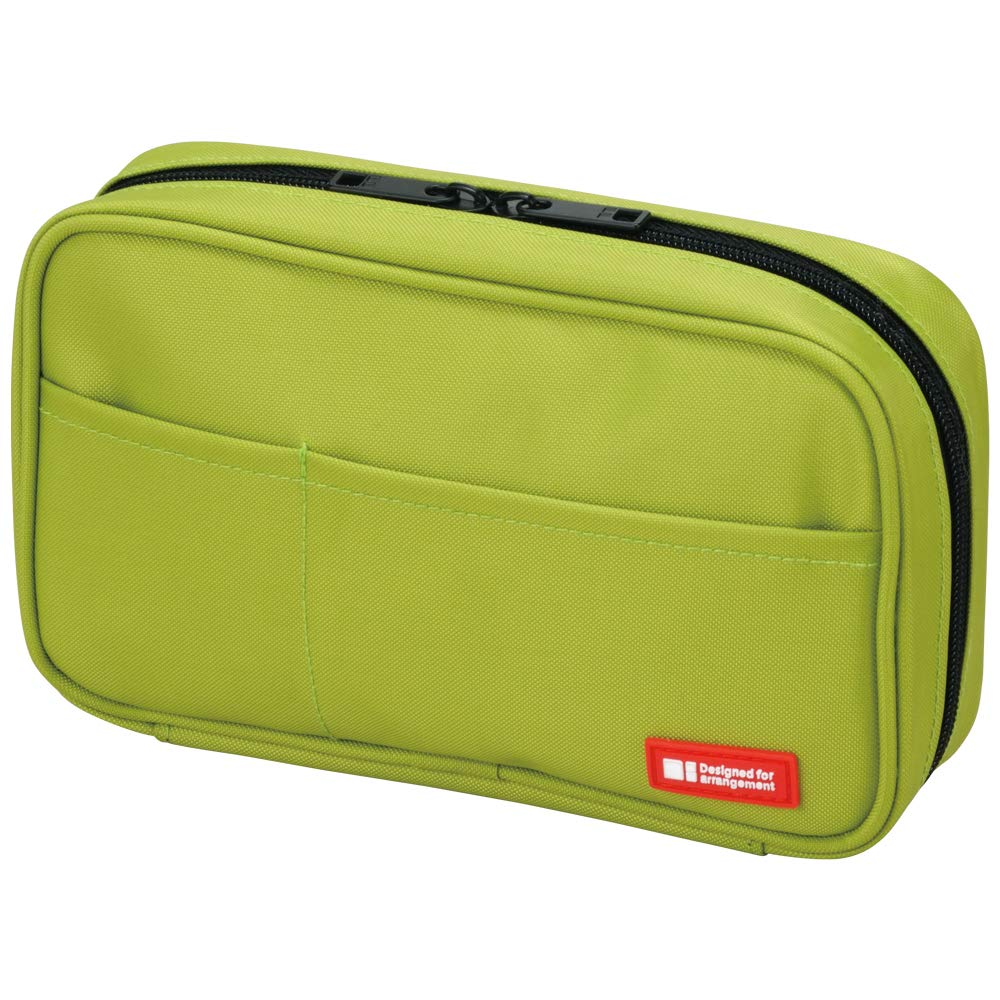LIHIT LAB Zipper Pen Case, 7.9 × 2 × 4.7 Inches, Yellow Green (A7551-6)