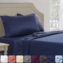 Abakan King Bed Sheet Set 4 Piece Super Soft Brushed Microfiber 1800TC Hotel Luxury Premium Cooling Sheet Breathable, Wrinkle, Fade Resistant Deep Pocket Bedding Sheet Set (King, Navy Blue)