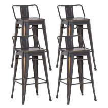 Alunaune 30 inch Metal Bar Stools Set of 4 Counter Height Bar Stools with Back Industrial Kitchen Stools with Wooden Seat (Low Back,Distressed Gold Black)