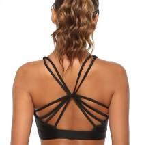 Extpro Women Strappy Sports Bra Cross Back Removable Padded Bra for Yoga, Running, Fitness Activewear