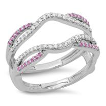 10K Gold Round White Diamond & Pink Sapphire Ladies Wedding Band Split Shank Enhancer Guard Double Ring