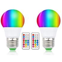 Luxvista 3W E26 Colored RGB LED Bulbs - 12 Color Choices A15 Dimmable LED Lights Memory Timer Function with Remote Control for Home, Bedroom, Bar, Ceremony or Party RGB+Daylight (2-Pack)