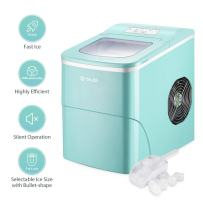 ISILER VD-22769GNEP Portable Counter Top Maker Machine Makes 26.4 lbs per 24 hours, 9 ready in 7 Minutes, X L Ice Cubes Size Electr, Turquoise