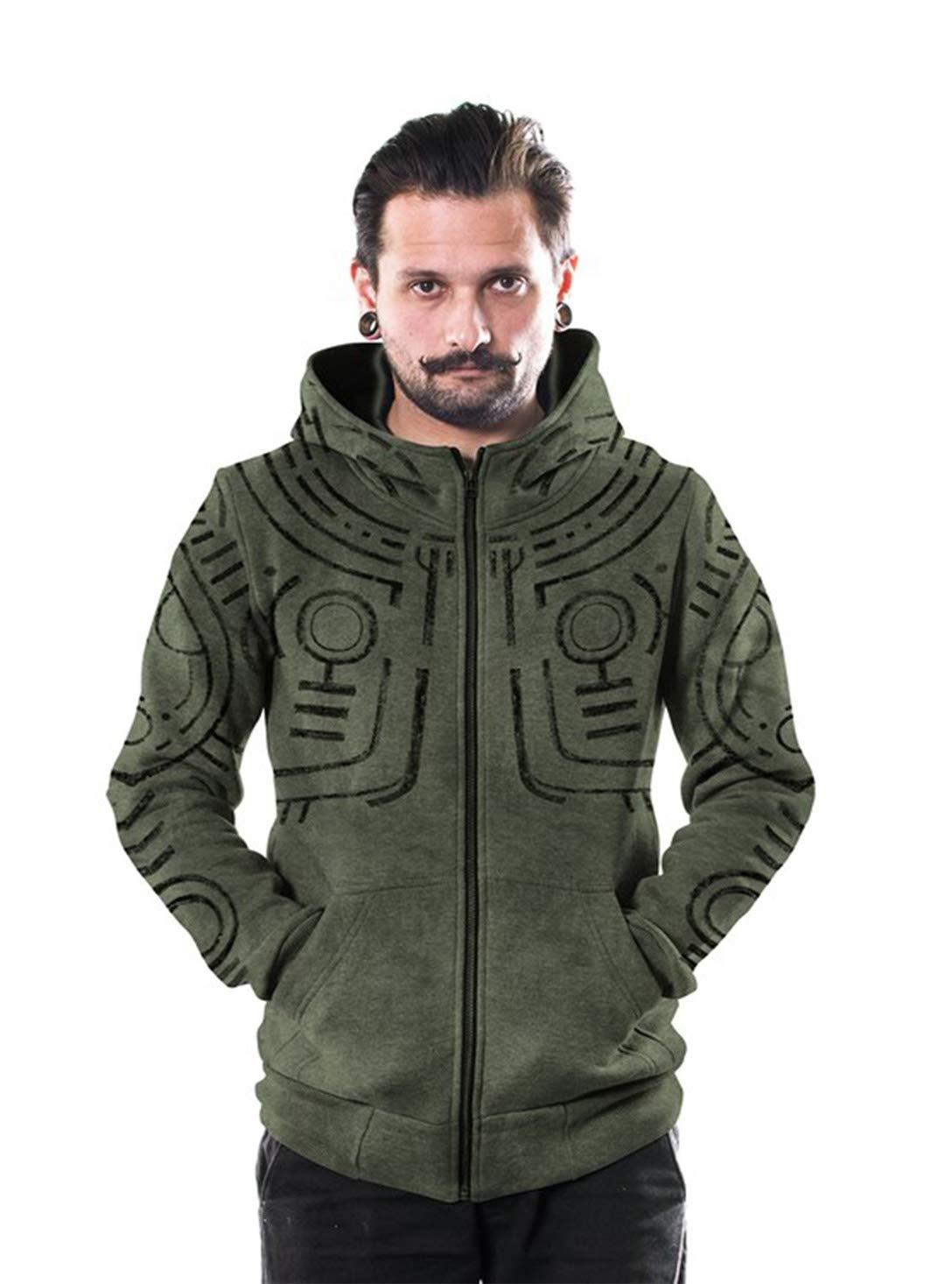 Men's War Paint Hoodie All Over Print Aztec Heavy Zipped Sweatshirt Black Wash
