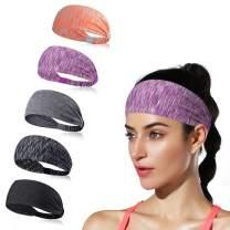 DINIGOFIN Wide Sports Headbands for Women Non Slip Workout Headband Moisture Wicking Sweatband for Yoga Running Athletic Fitness