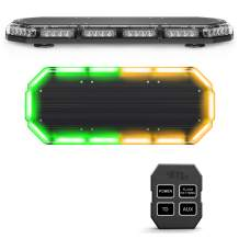 SpeedTech Lights K-Force 27 Mini Light Bar 168 Watts LED Strobe Lights for Trucks, Cars, Plows, and Emergency Vehicles with Magnetic Roof Mount - Amber/Green