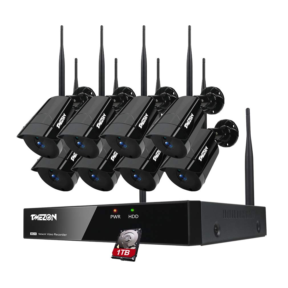 TMEZON 8CH Security Camera System Wireless,1080P NVR WiFi Surveillance System(WiFi NVR Kits) with 8PCS 960P Indoor/Outdoor Wireless Security Cameras,with 1TB HDD,Auto Pair