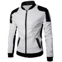 Cloudstyle Men's Latticed Baseball Bomber Jacket Slim Fit Coat White Black