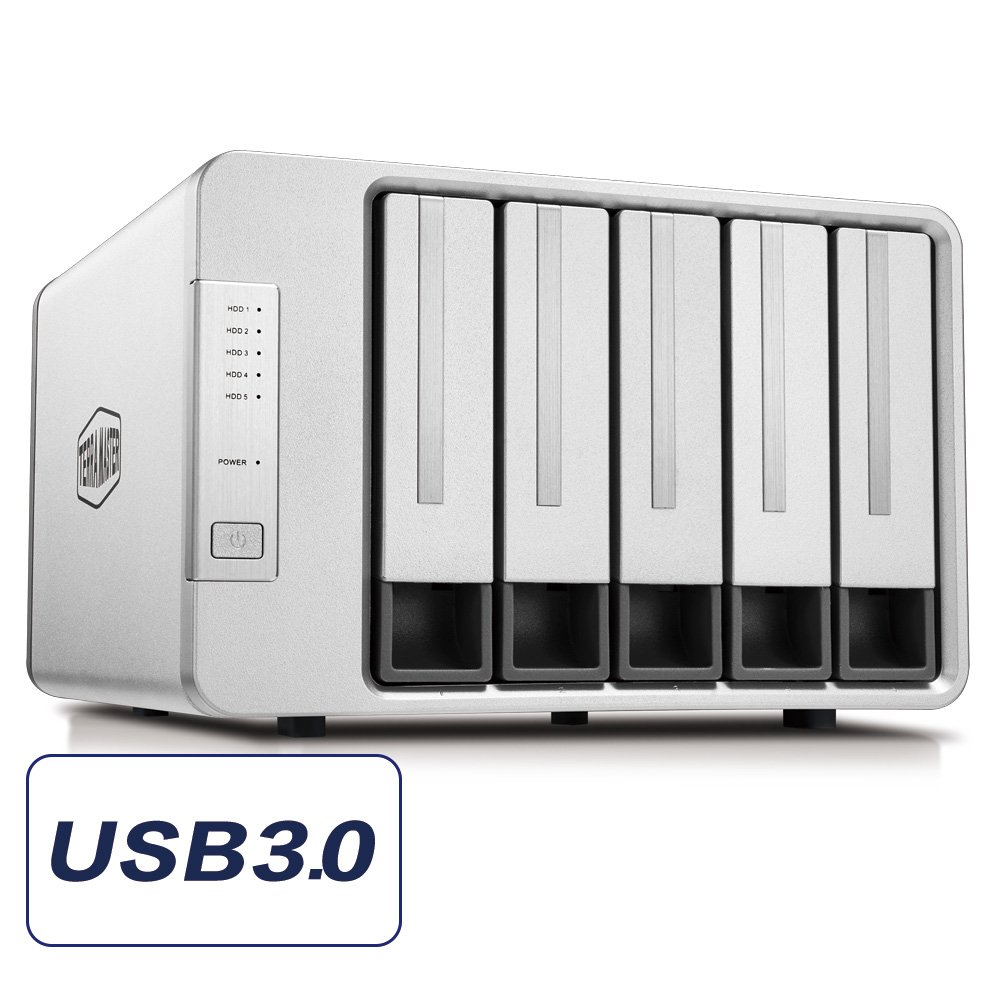 TERRAMASTER D5-300 USB3.0 (5Gbps) Type C 5-Bay External Hard Drive Enclosure Support RAID 5 Hard Disk RAID Storage (Diskless)