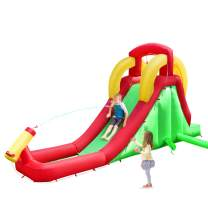 Costzon Inflatable Water Slide, Climb and Long Slide Bouncer w/ Water Cannon for Kids, Including Carry Bag, Repairing Kit, Hose, Without Blower