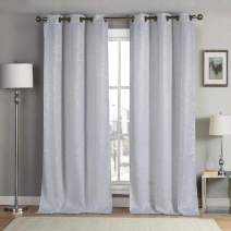 kensie Maddie Silver Metallic Textured Blackout Darkening Grommet Top Window Curtains Pair Drapes for Bedroom, Living Room-Set of 2 Panels, W38 X L96, Navy