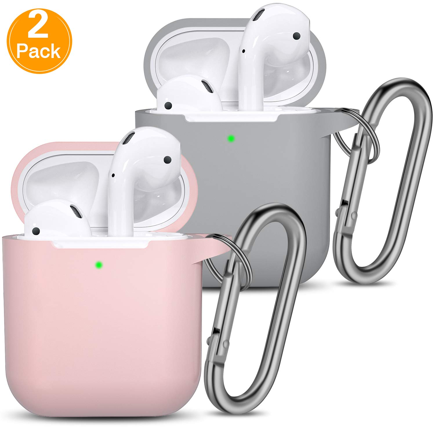 AirPods Case [Front LED Visible], 2 Pack Vcegari Anti-Dust Shock-Proof Durable Silicone Protective Cover Skin for AirPods 1&2 Charging Case with Firm Keychain, Light Pink/Gray
