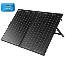 SUNGOLDPOWER 130W Portable Foldable Solar Panel Suitcase 12V Monocrystalline Folding Solar Module with LCD Charge Controller