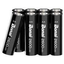 BONAI AA Batteries Rechargeable High Capacity 1.2V NiMH-AA Rechargeable Batteries,Reliable Power & Low Self Discharge (Pack of 8)