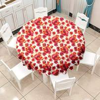 VVA Round Tablecloth - Red Poppy Flowers in Watercolor Painted Style, Floral Nature Print - Round Table Cover for Dining Rooms and Kitchens, Indoor and Outdoor Events - 60 Inch, Red White