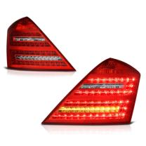 VIPMOTOZ For 2007-2013 Mercedes-Benz W221 S-Class Smoke Red Lens LED Tail Brake Light Housing Lamp Assembly Driver and Passenger Side Replacement Pair