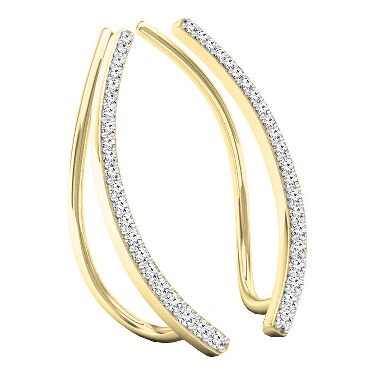 Dazzlingrock Collection 0.22 Carat (ctw) 14K Gold Round White Diamond Ladies Crawler Climber Earrings