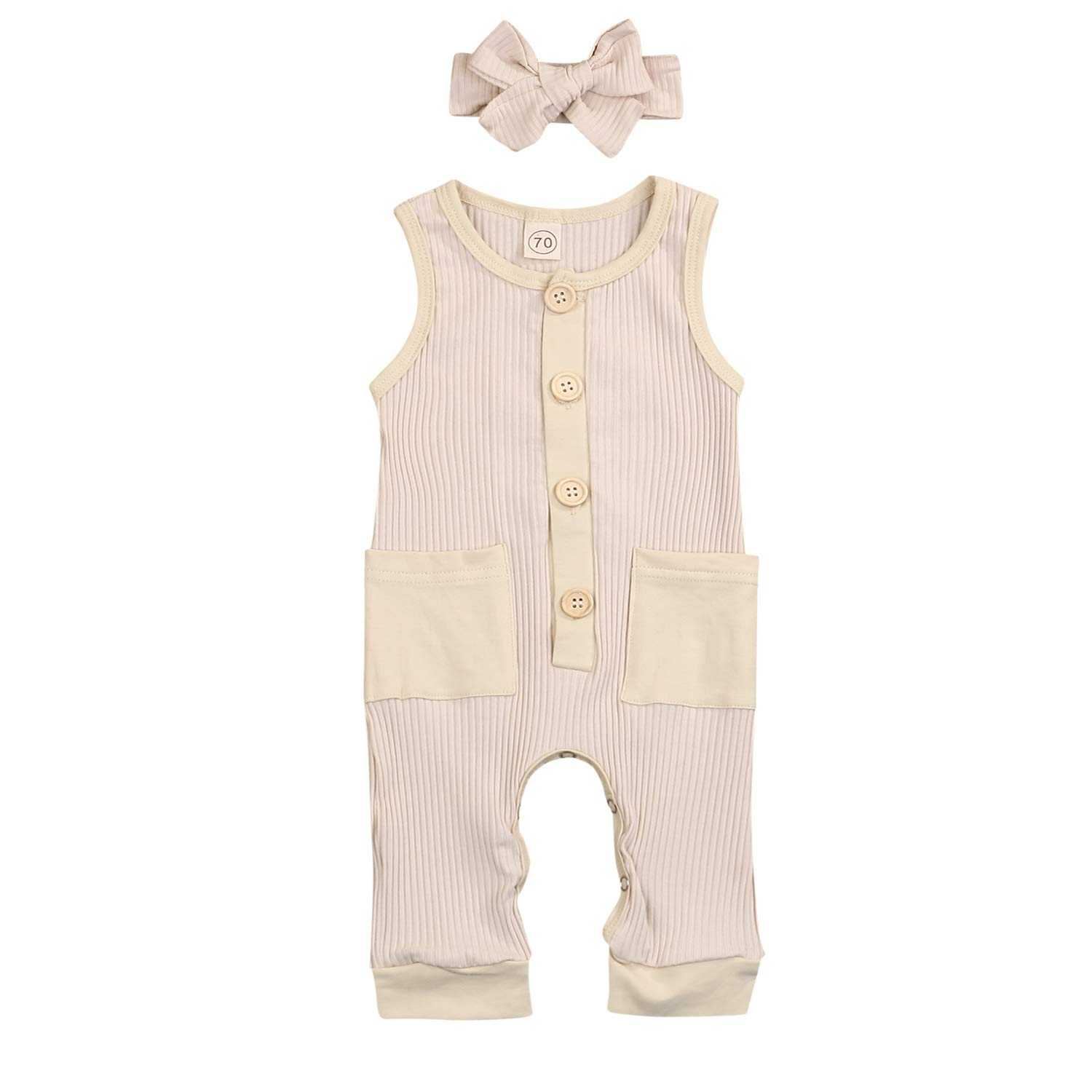 Newborn Baby Boys Girls Summer Romper Outfits One Piece Sleeveless Solid Color Jumpsuit Bodysuit Clothes Set 0-24M