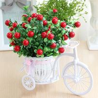 Takefuns Garden Nostalgic Bicycle Artificial Flower Decor Plant Stand Mini Garden for Home Wedding Decoration (Green)