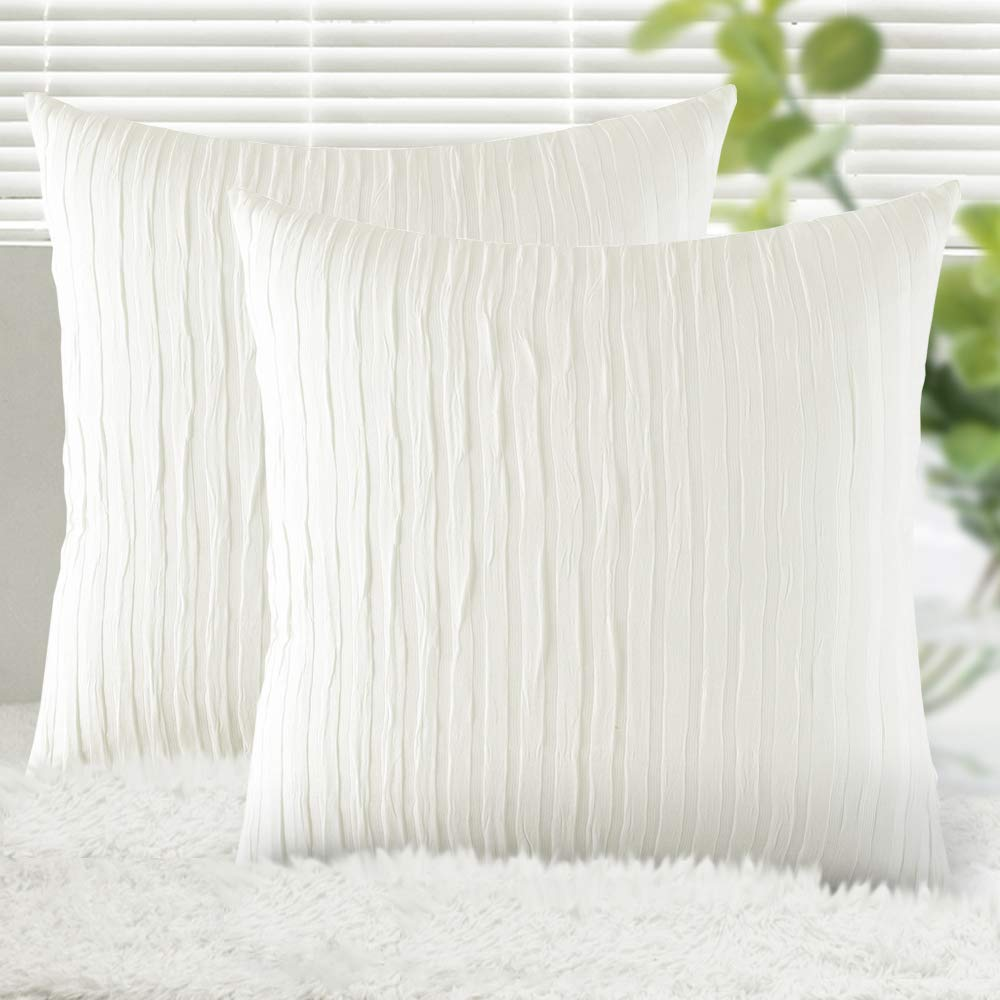Yeadous Off White Throw Pillow Covers Case, 2 Pack Line Striped 100% Cotton Cushion Cover, Soft Decorative Pillow Shams Covers for Sofa Couch Bed Home Decor(18x18 Inches, Off White)
