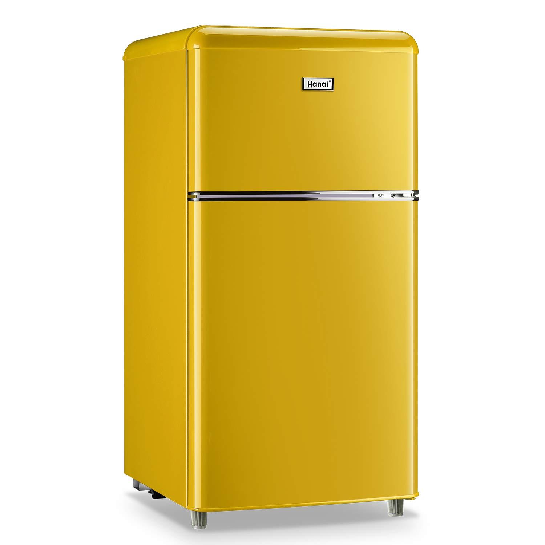 WANAI Compact Refrigerator 3.2 Cu.Ft Classic Retro Refrigerator 2 Door Mini Refrigerator Adjustable Remove Glass Shelves Refrigerator Suitable for Dorm Garage and Office