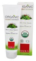RADIUS - Organic Coconut Oil Toothpaste, USDA Organic Certified (Mint Aloe Neem, 3 oz, 6pack)
