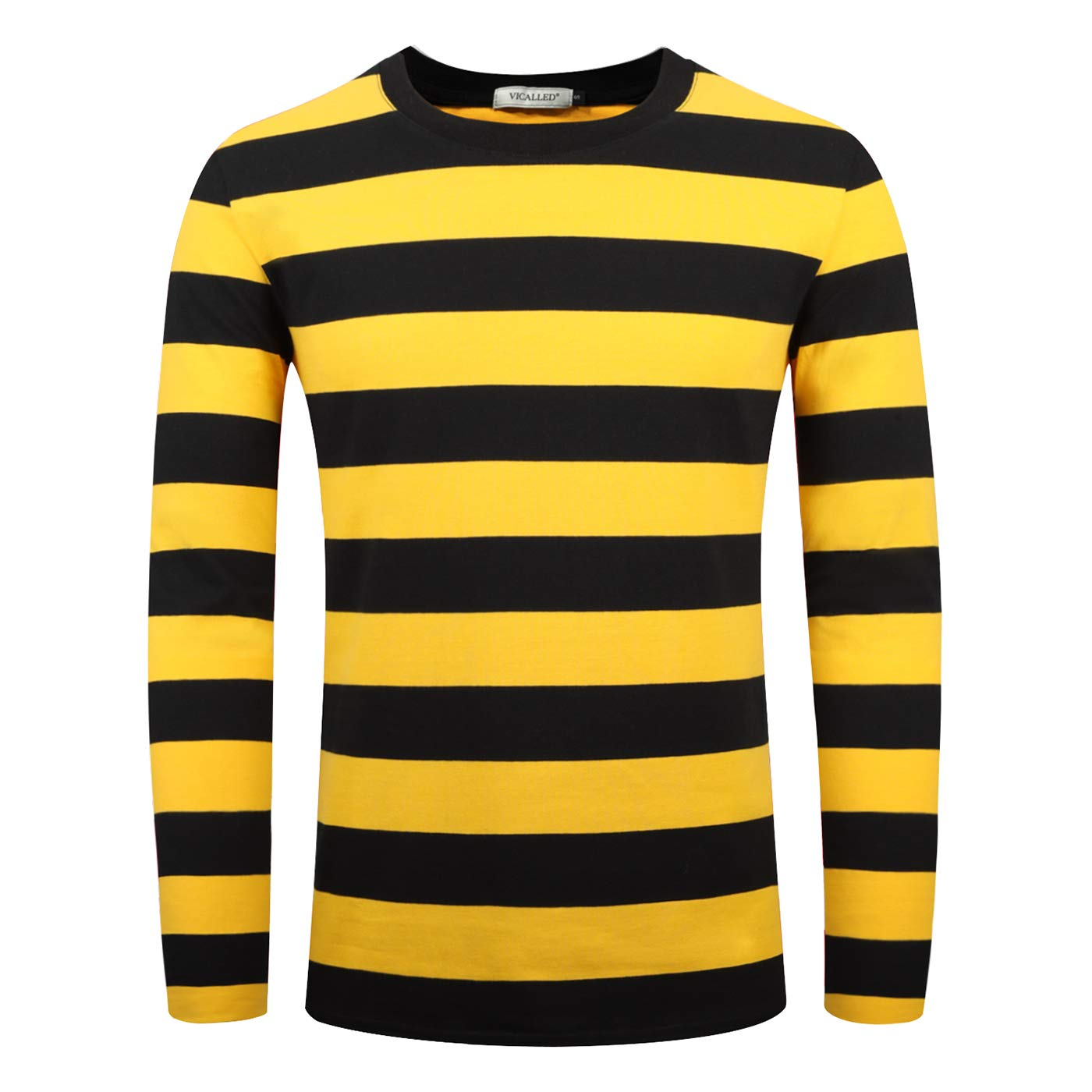 VICALLED Mens Basic Striped T-Shirt Long Sleeve Casual Pullover Crew Neck Cotton Novelty T-Shirt