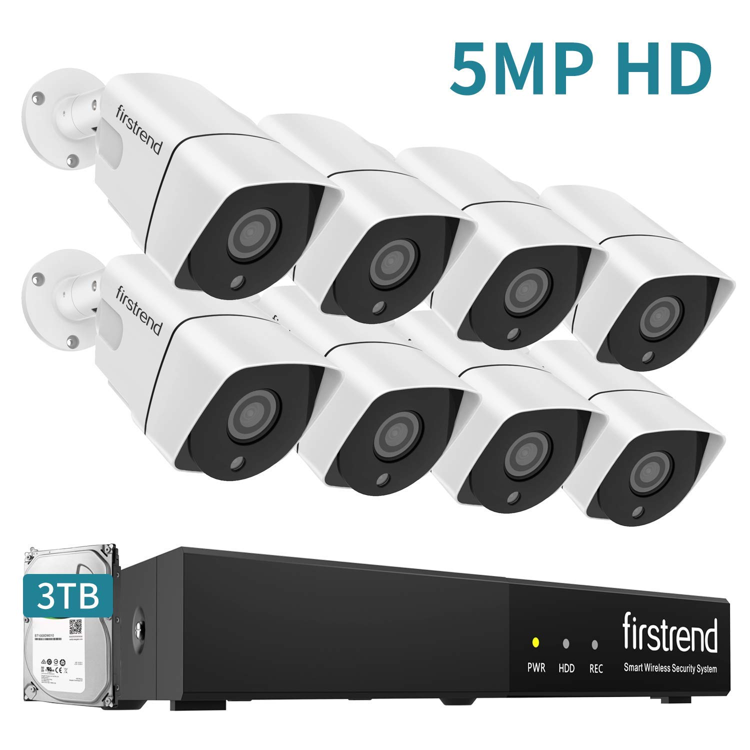 PoE Security Camera System 5MP 8CH NVR with 3TB HDD and 8PCS 5MP P2P Indoor Outdoor Video Camera System 65FT Night Vision Free APP