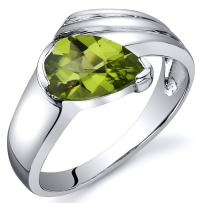 Peridot Ring Sterling Silver Rhodium Nickel Finish Pear Shape 1.25 Carats Sizes 5 to 9