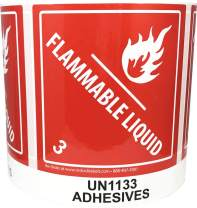 Laminated UN1133 Adhesives Paint Flammable Liquid Hazard Class 3 Pre-Printed Labels 4 x 4.75 Inch 500 Total Stickers on a Roll
