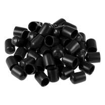 uxcell Screw Thread Protectors 1/2-inch ID Rubber Round End Cap Cover Black Flexible Tube Caps Tubing Tip 50pcs